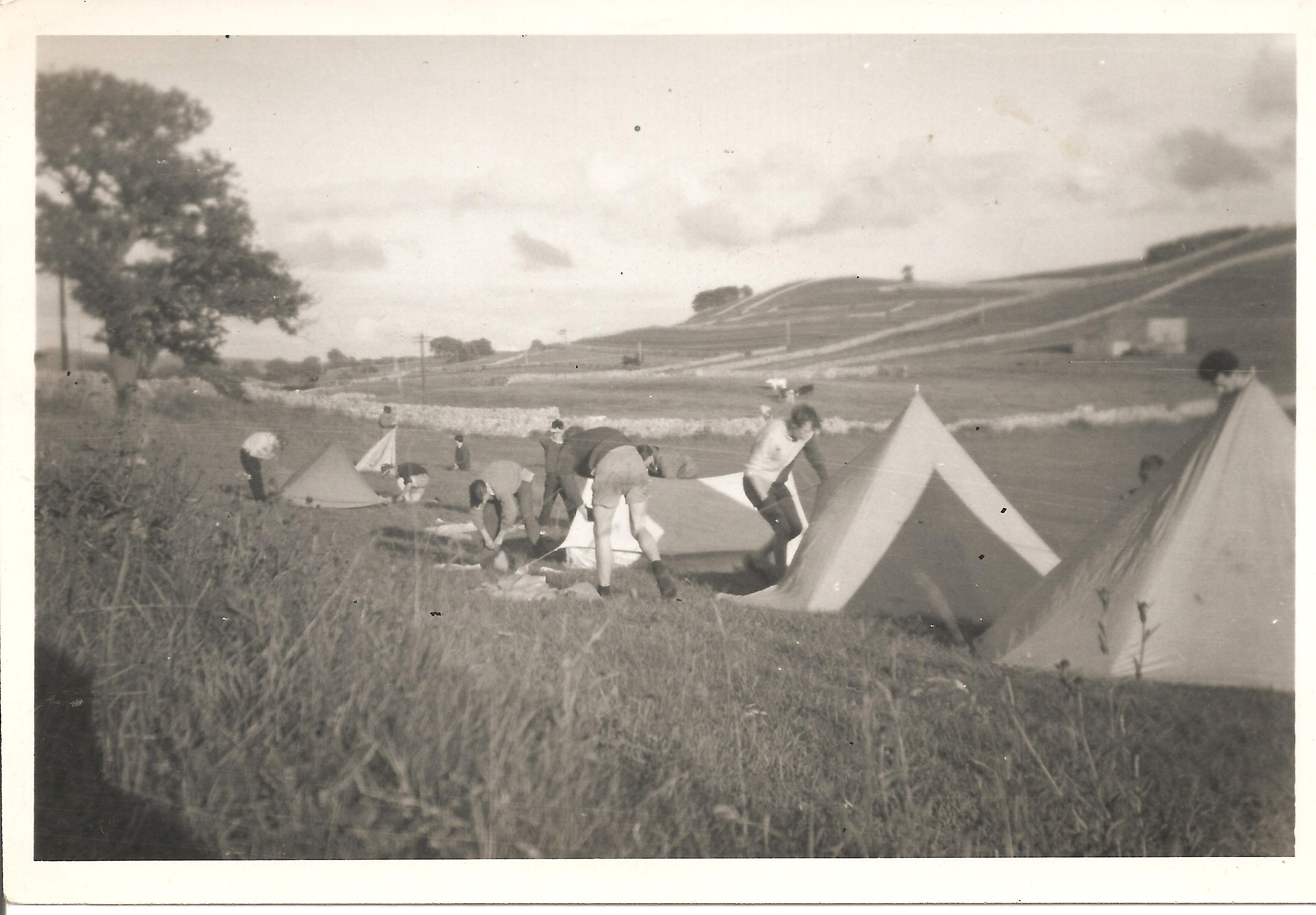 Tents in playing field